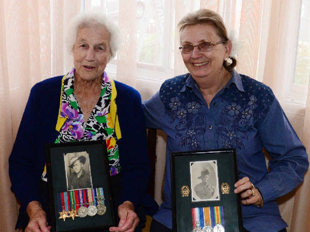 FAMILY TIES: Rockhampton 87-year-old Jessie Harris shares family memories with Rockhampton Legacy Pensions and Welfare Officer Ruth Gardner.