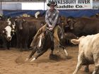 Oakey's Todd Graham, pictured riding Kenetic in the Classic Challenge final, successfully defended his Open Futurity title at the Darling Downs Cutting Club Futurity Show.