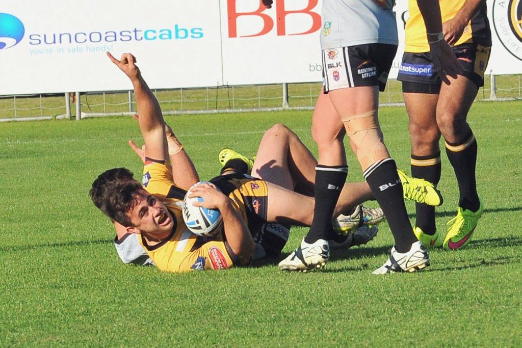 Sunshine Coast Falcons v's Tweed Heads Seagulls. Falcons No 9 Billy Brittain across the try line. Photo: Greg Miller / Sunshine Coast Daily