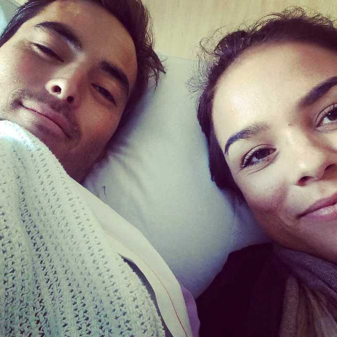 Mathew Lee with Suzy Gerada, recovering in the Gold Coast University Hospital. Photo Contributed Facebook