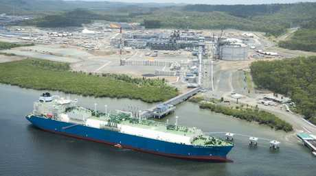 LNG carrier Maran Gas at the Queensland Curtis LNG plant, Curtis Island near Gladstone.