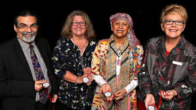 INSPIRATIONAL: Ara Harathunian (IWC), former Bundaberg Regional Council community recovery officer Lee Hammond, Cheri Yavu-Kama-Harathunian (IWC) and Bundaberg Councillor Judy Peters at the closing ceremony.