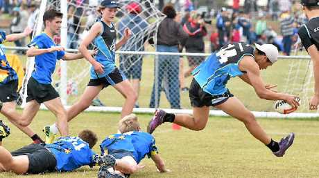 SPEED: Trent Tutauha from Coomera dives in to score in the match against Gympie.