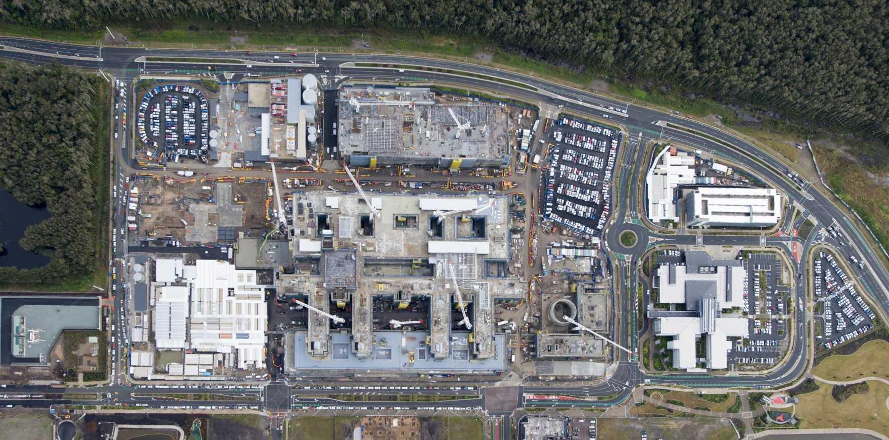 IMPRESSIVE: Construction of the Sunshine Coast Public University Hospital from above.