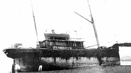 The S.S. Dicky ran aground on a beach near Caloundra on February 4,