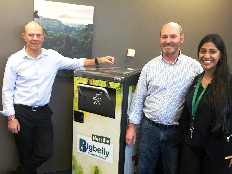Tweed Shire Council's coordinator of watse management Rod Dawson, mayor Gary Bagnall and Samira Khan from Solar Bins.