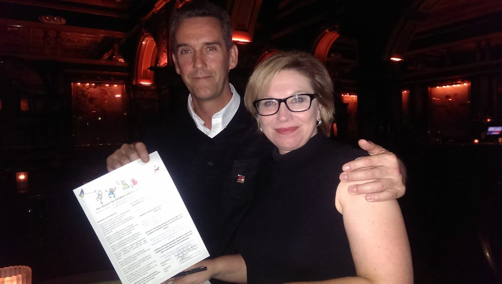 Bundaberg's Robbie Boyes and DV campaigner Rosie Batty, who has signed the Bundaberg Charter for Children. Photo: contributed