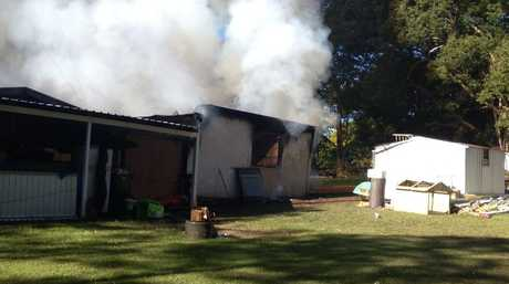 House fire, Eumundi Noosa Road. Photo: Geoff Potter/Sunshine Coast Daily