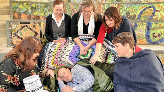 ACTIONS LOUDER THAN WORDS: Community Action Gympie is holding a community sleepout to raise money and awareness for the homeless. Showing their support are Michelle Hine, Sean Connelly and Judy Brauer, (back) Katrina Martini, Shelley Ngaire and Lisa Catlin.