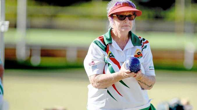 EYE ON THE PRIZE: Carmel Cook bowling in the recent Classic Triples event at the East Lismore Bowling Club.