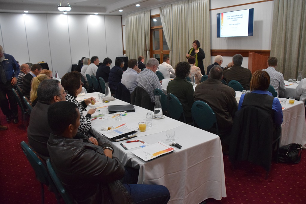Gladstone Mayor Gail Sellers speaks at a workshop to gather community input on the council's economic development strategy, on Monday night.