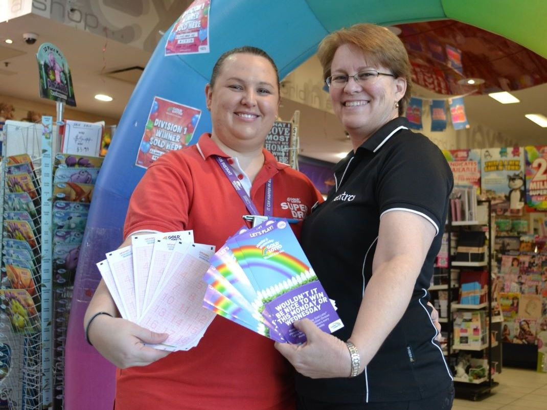 LUCKY AGENCY: Nextra Orion staff members Nicole MacPherson and Leanne Firman are waiting for the district's latest millionaire to come back in and check their ticket.