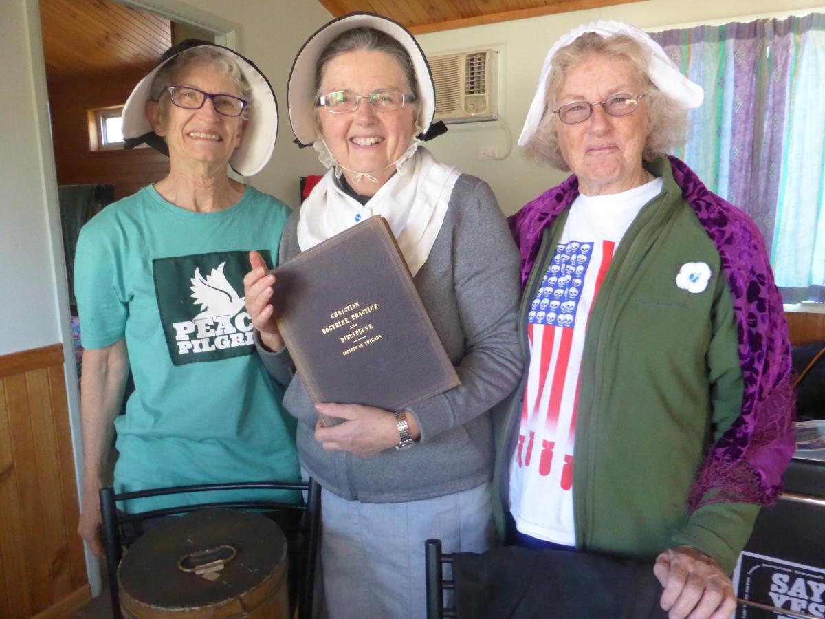 Former Western Australian Senator Jo Valentine and Quaker Granny Dawn Joyce and Quaker Helen Bayes