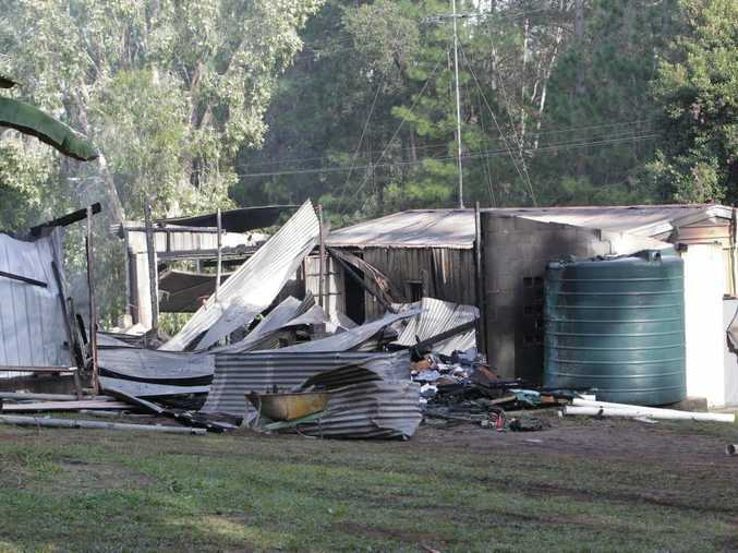 A fire which destroyed a Doonan home is believed to have started in a central shed area. Photo Stuart Cumming/ Sunshine Coast Daily