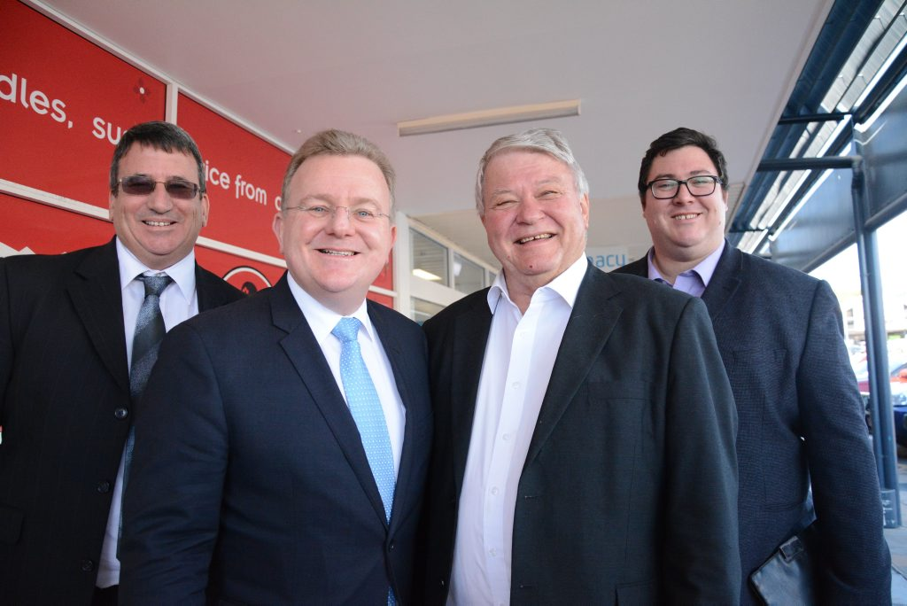 Bundaberg business consultant Peter Peterson, Federal Minister for Small Business Bruce Billson, Federal Member for Flynn Ken O'Dowd and Federal Member for Dawson George Christensen in Gladstone.