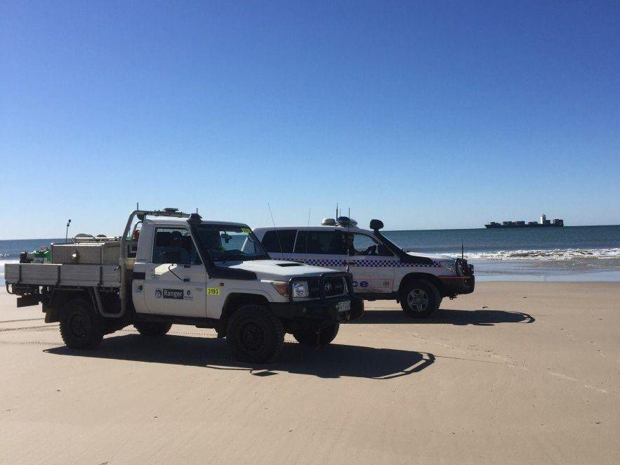 Police patrol Bribie Island. Contributed photo.