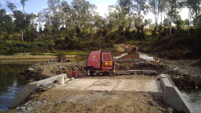 Road works at Booyal Crossing.