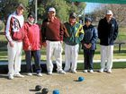 Craig Thompson, Yvonne Campbell, Wayne Tucker, Antoine Butz, Margaret Martin and Phil Anderson rugged up as they played in the mixed fours carnival at Killarney Bowls Club.