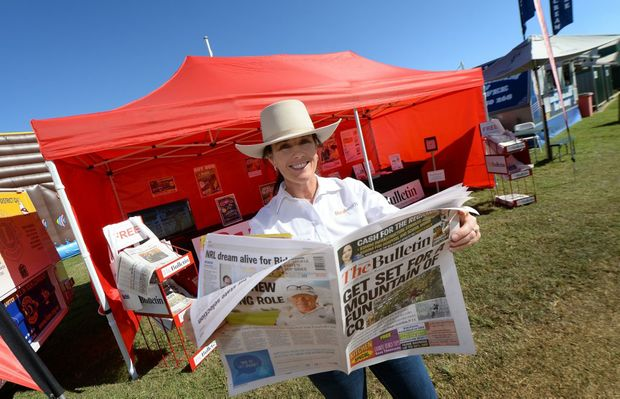 Petrina Morgan at the Morning Bulletin / Rural Weekly stand at the 2015 Paradise Lagoons Campdraft outside Rockhampton. Photo: Chris Ison / The Morning Bulletin