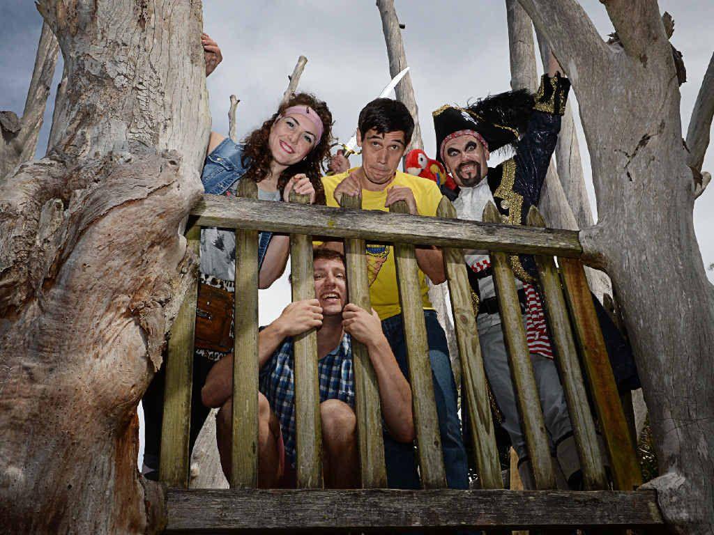 SHOW GOES ON: The 26 Storey Treehouse crew Freya Pragt, Luke Carson, James Lee, and below, John Shearman.