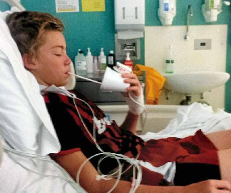 Nambour Under 13 player Max Vandenberg recuperates from a ruptured spleen in Nambour General Hospital
