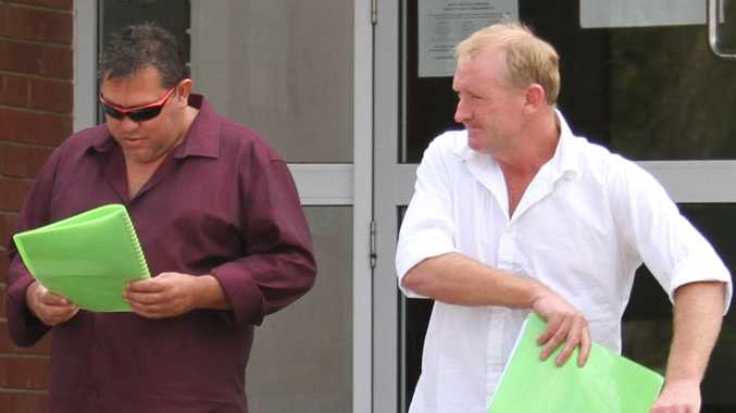 Marcus Rawlinson and Anthony Morris leaving the Proserpine Magistrate's Court with their bail conditions varied on Friday morning.