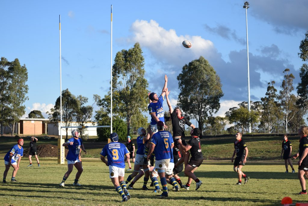 Dalby (blue) and UQ Gatton contest line-out possession in last week's Risdon Cup match at John Ritter Oval.