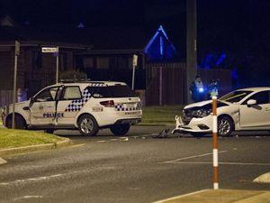 Police vehicle in crash