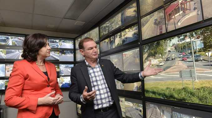 Premier Annastacia Palaszczuk tours Ipswich Safe City operation with Mayor Paul Pisasale.