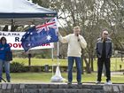 Chris Reynolds speaking at the Reclaim Australia rally at East Ck Park. Sunday, Jul 19, 2015 . Photo Nev Madsen / The Chronicle