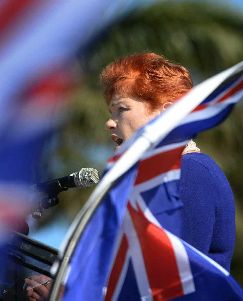 CENTRE STAGE: Pauline Hanson addresses the crowd at the Reclaim Australia Rally in Rockhampton.
