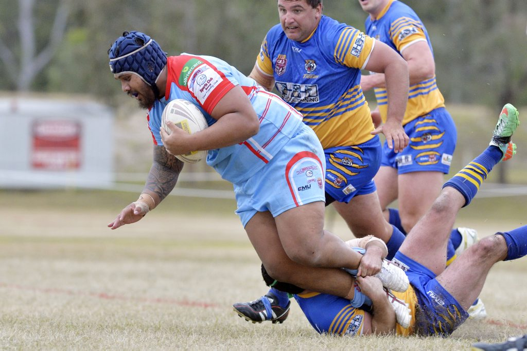 Swifts prop Zeb Nuuola gets on the front foot in his team's loss to Norths on Sunday.