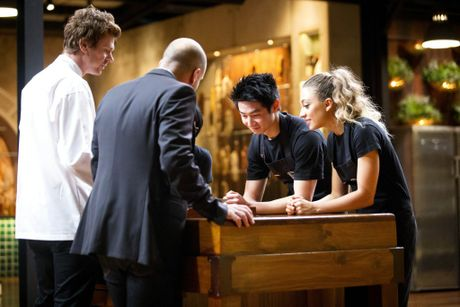 From left: guest chef Grant King, judge George Calombaris and contestants Reynold Poernomo and Sara Oteri in a scene from ep 57 of MasterChef Australia. Contributed CH10