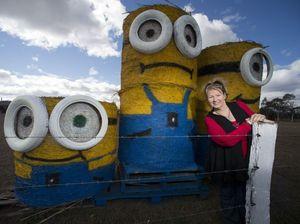 Giant hay minions create a despica-bale stir