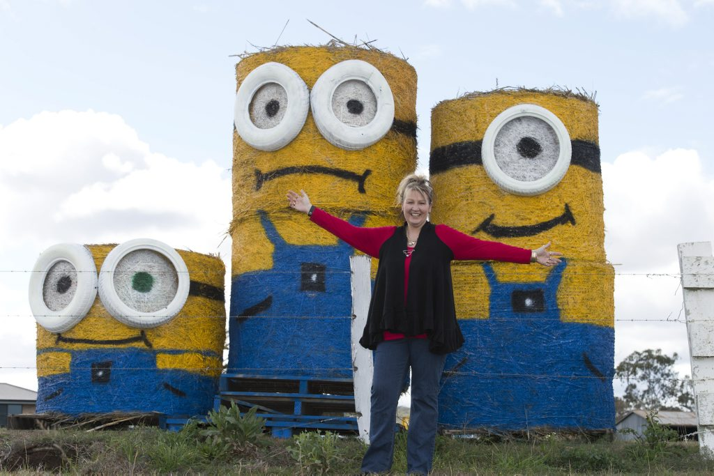 Kylie Wilkins with her hay bale minions.