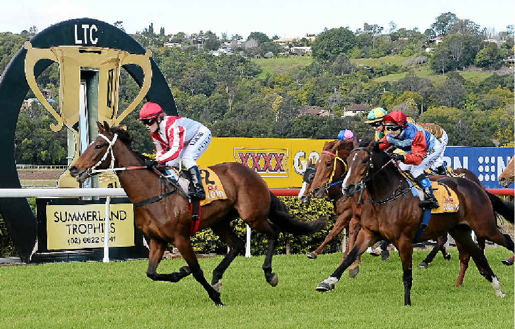 LISMORE WINNER: Stitchery, ridden by Samantha Polo, takes out the Maiden Hcp (1300m), the second race at the Lismore Turf Club TAB meeting on Saturday. The three-year-old filly won by a length.LEFT: Stitchery being paraded before the race.