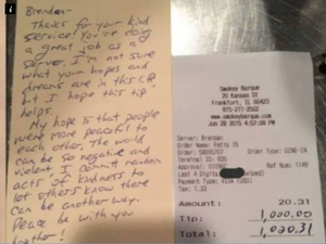 Waiter left a $1000 tip and kind note from mystery customer