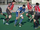 Newtown's Josh McPaul against Past High in Toowoomba Hockey A1 men fixture at Clyde Park, Saturday, July 18, 2015. Photo Kevin Farmer / The Chronicle
