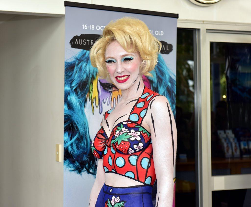 Rebecca Lawrence models at the launch of Australian Body Art Festival.