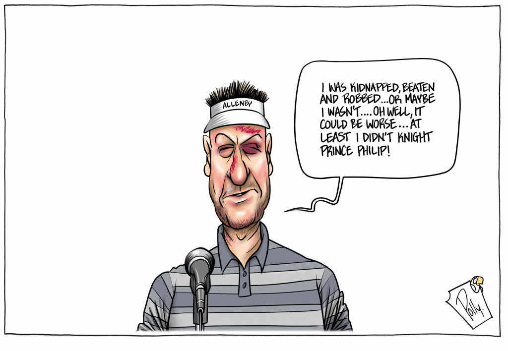 "John ""Polly"" Farmer's cartoon of golfer Robert Allenby ticked all the boxes for judges in the sports section."