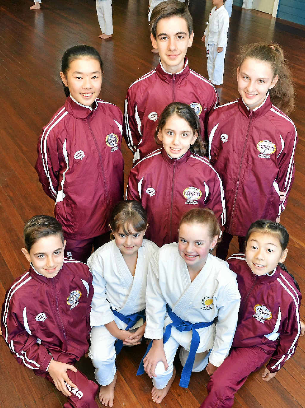 LEFT: Queensland reps (front, from left) Dustin Mostofizadeh, Morgan Butler, Georgia Butler and Sakura Matsuzaki, (centre) Delara Mostofizadeh and (back) Momoka Matsuzaki and David and Daria Mostofizadeh.