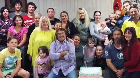 FAMILY TIME: Brassall's Manny Ellul (front centre) and his son Greg Bracknell (front right) enjoy a massive family get together in Brassall where Greg got to meet his dad, brothers, sisters and extended family for the first time after Manny's 47-year search.