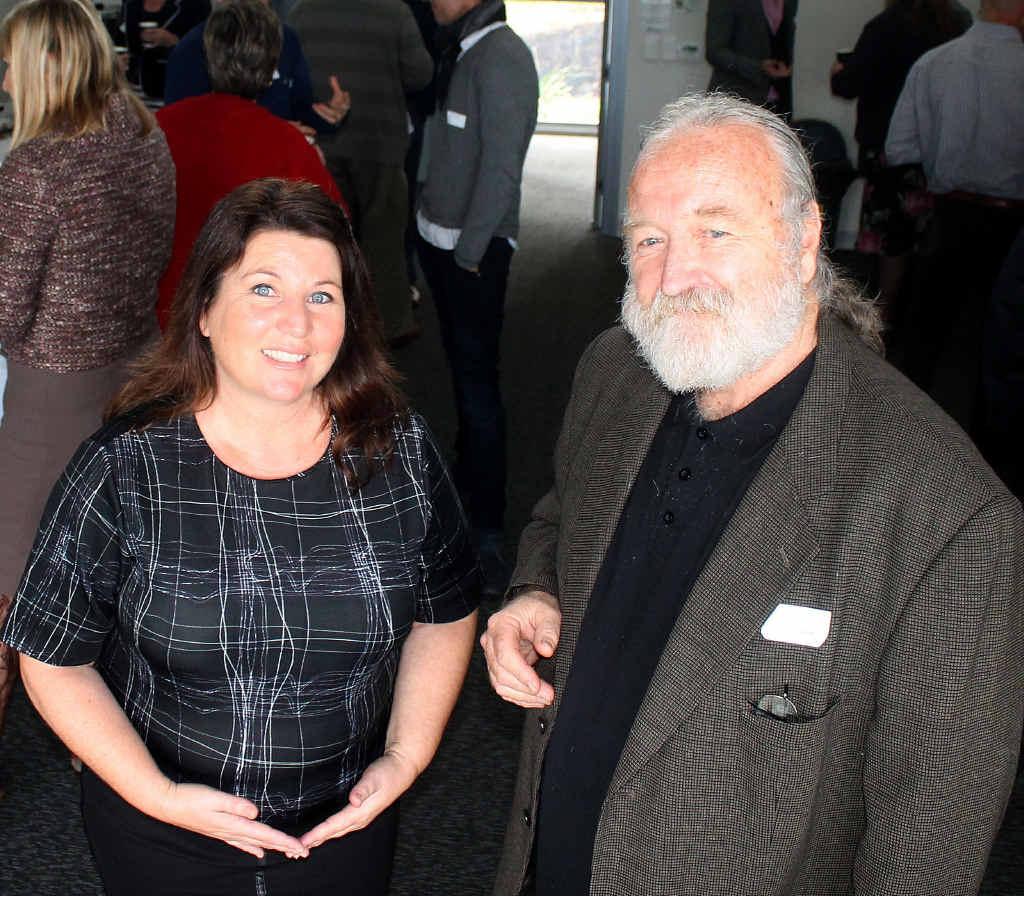 JOBS CREATION: Ballina MP Tamara Smith with co-founder of Byron Bay Chilli Co John Boland at yesterday's jobs summit in Ballina.