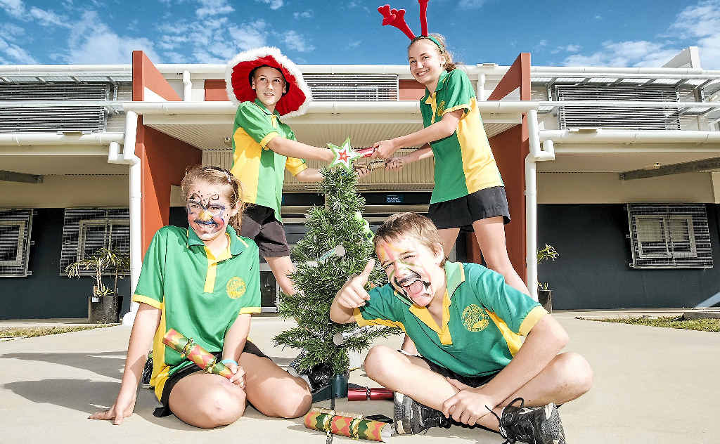 HO HO HO: Proserpine State School Year 6 students Amelia Emmerson, Sean Turner, Isaac Comerford and Korin Dean-Boettcher are looking forward to the school's annual Christmas in July Fete on Friday.