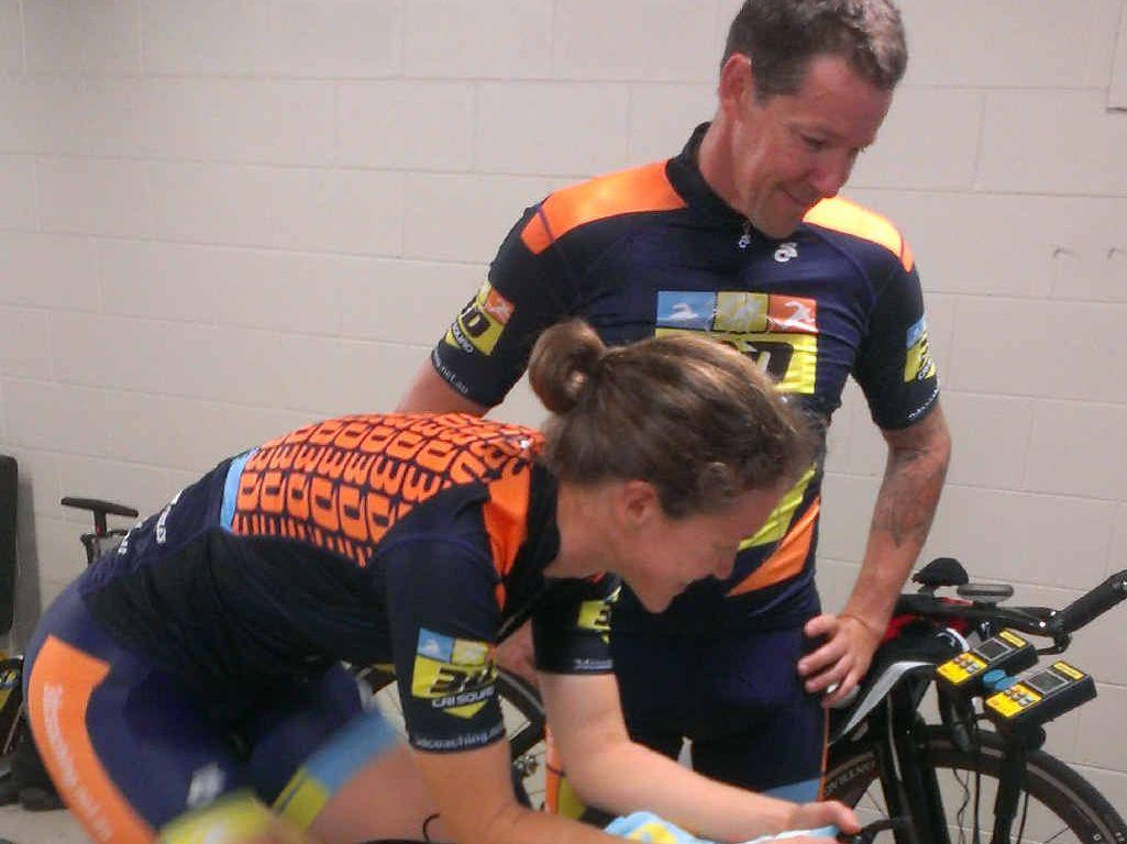 SWEAT: Coach Ryan McLoughlin checks Karlene Kilgour's technique in the bike room.