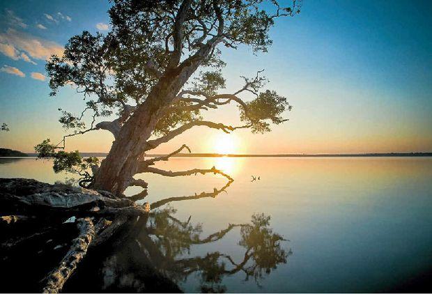Sunset on Lake Weyba.