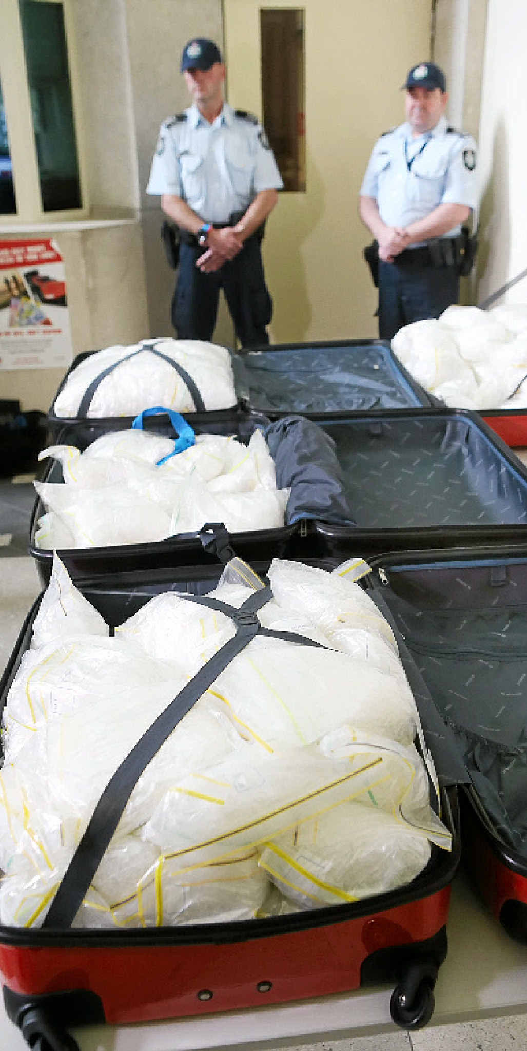BIG BUST: Police display 135kg of crystal meth, also known as ice, in July last year.