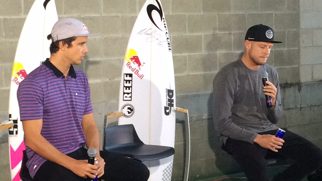 Mick Fanning and Julian Wilson address the media at Sydney Airport after flying home.
