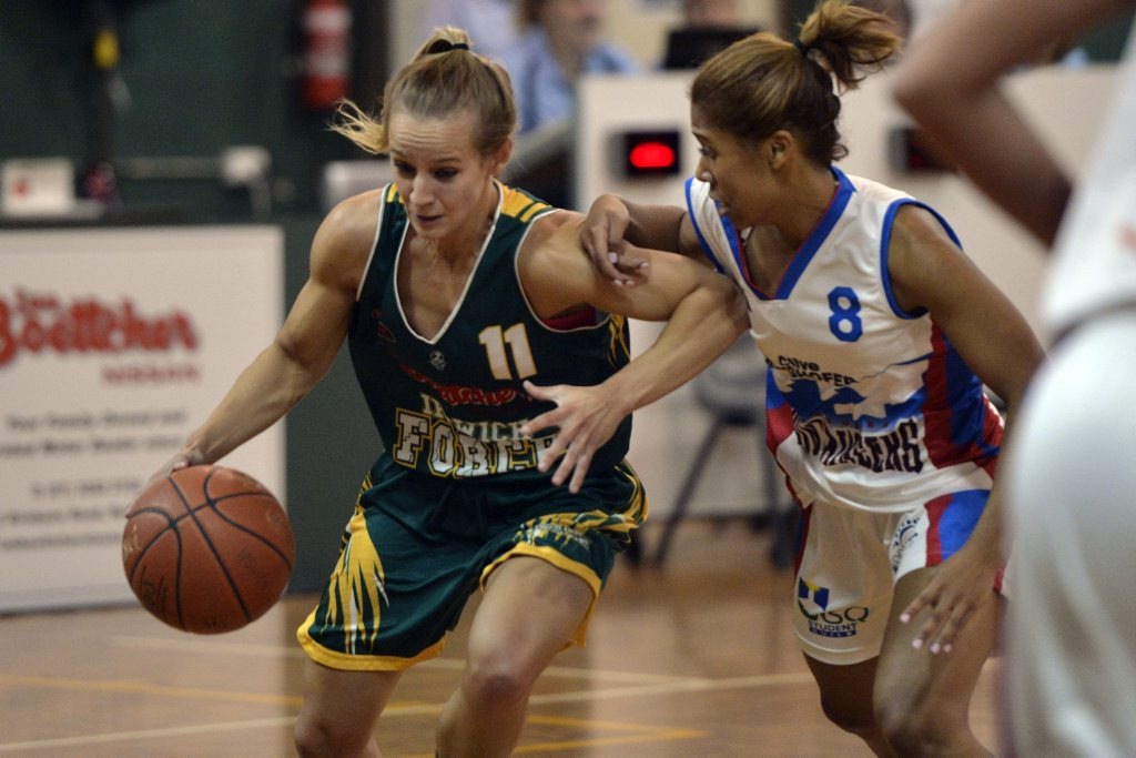 Ipswich Force's player of the week Chelsie Schweers (left).