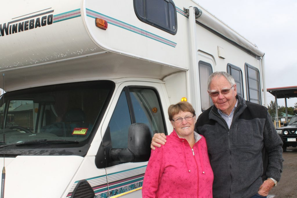 HAPPY TRAVELLERS: Shirley Graham and Alan Finnie are responsible caravan stop users.